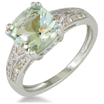 Diamond & Green Amethyst Ring