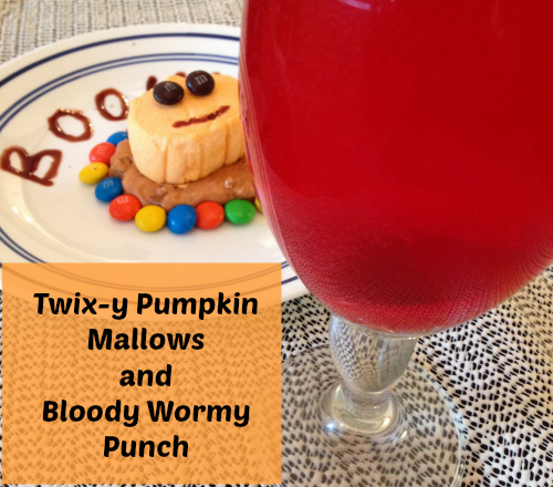 Twix-y Pumpkin Mallows and Bloody Wormy Punch