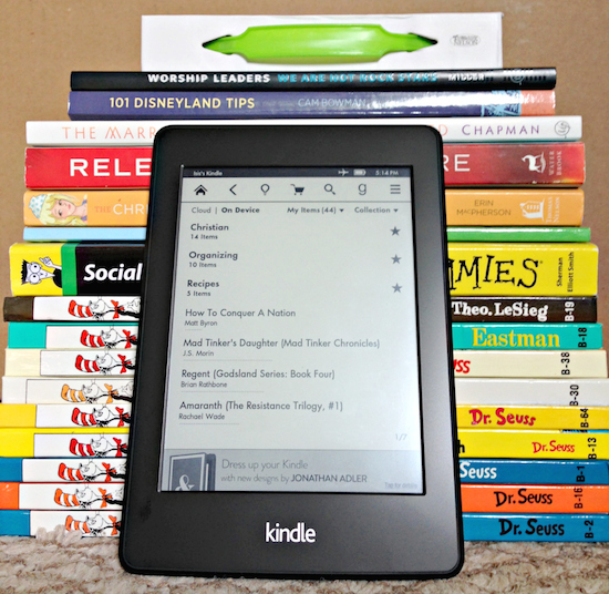 Kindle Paperwhite with books