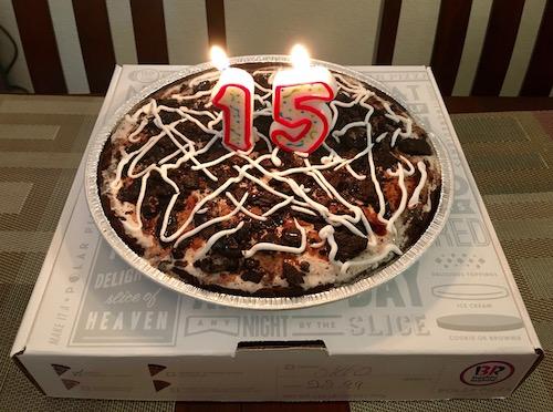 Baskin Robbins Polar Pizza with candle