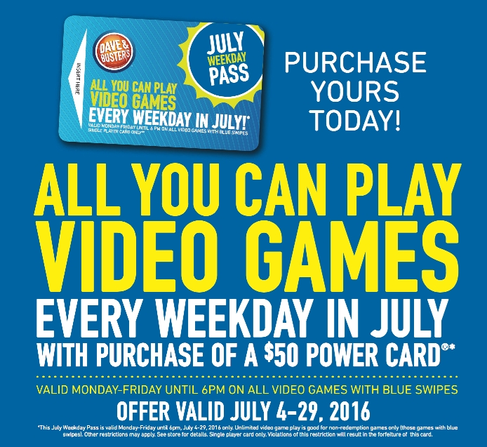 Play Unlimited Games at Dave & Buster's